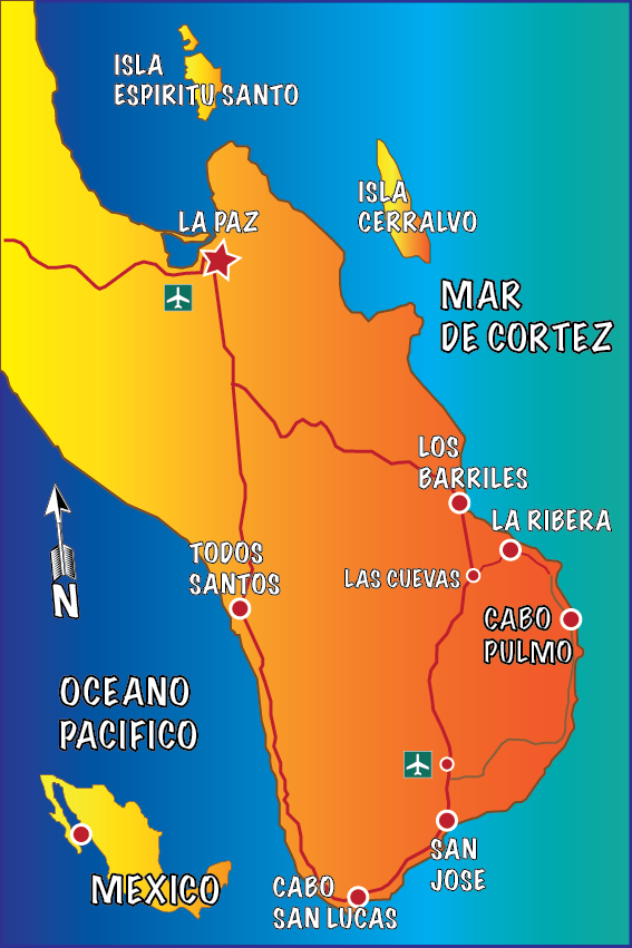 Map of the southern part of the state of baja california sur, mexico with indications on how to get to cabo pulmo national park, plus a small map of mexico indicating where is cabo pulmo national park
